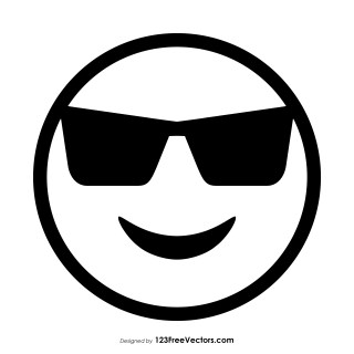 Smiling Face with Sunglasses Emoji Outline