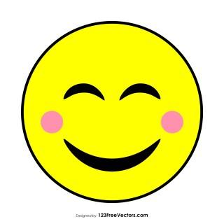 Flat Smiling Face with Smiling Eyes Emoji