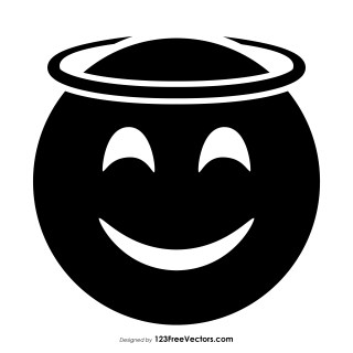 Black Smiling Face with Halo Emoji