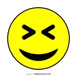 Flat Grinning Squinting Face Emoji