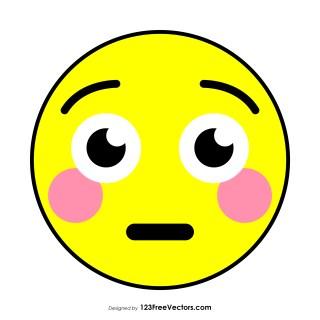 Flat Flushed Face Emoji