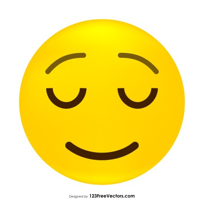 Relieved Face Emoji Vector Free
