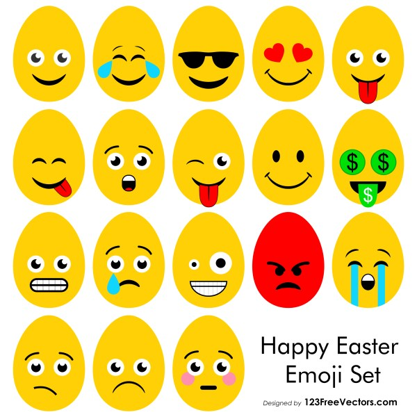 Happy Easter Emoji Vector Free