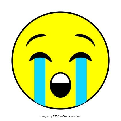 Flat Loudly Crying Face Emoji