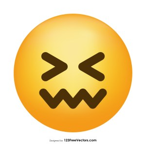 Confounded Face Emoji Icons Vector