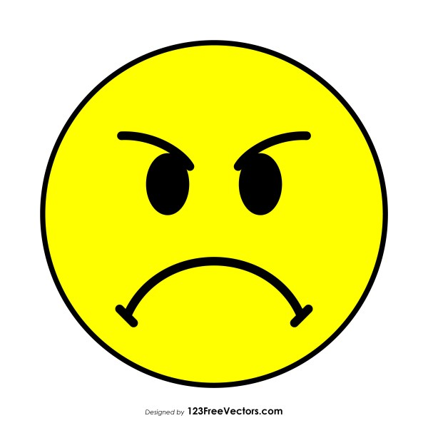 Flat Angry Face Emoticon