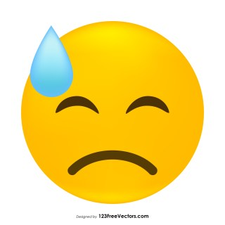Face with Cold Sweat Emoji Vector
