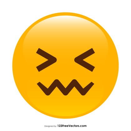 Confounded Face Emoji Vector Download