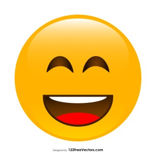 Smiling Face with Open Mouth and Smiling Eyes Emoji Vector Free
