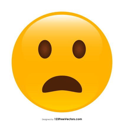 Frowning Face with Open Mouth Emoji Vector Free