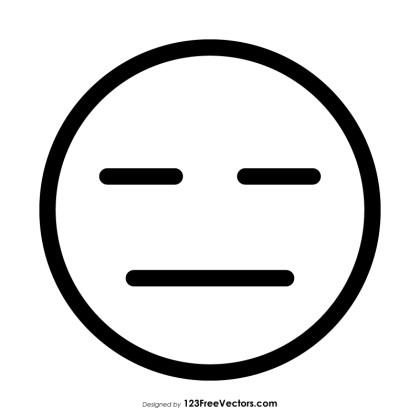 Expressionless Face Emoji Outline