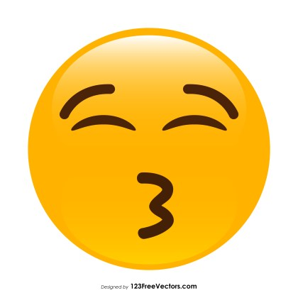 Kissing Face with Closed Eyes Emoji Vector Free