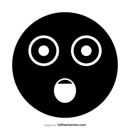 Black Face with Open Mouth Emoji Vector Free