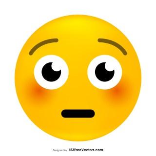 Flushed Face Emoji Vector Free