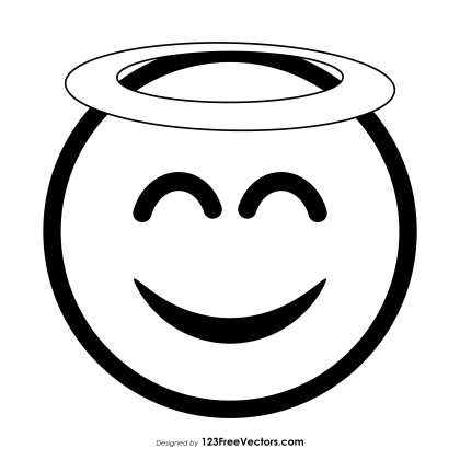 Smiling Face with Halo Emoji Outline Vector Free