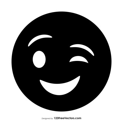 Black Winking Face Emoji