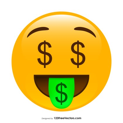 Money-Mouth Face Emoji Graphics