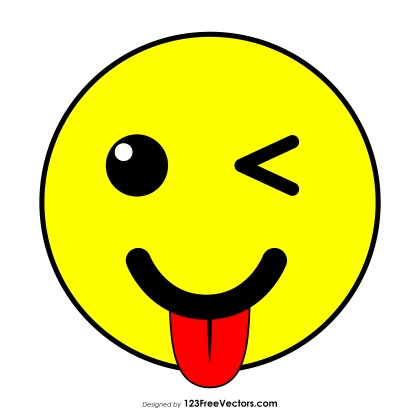 Winking Face with Tongue Emoji Vector Download