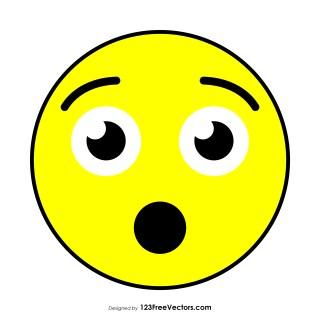 Flat Hushed Face Emoji