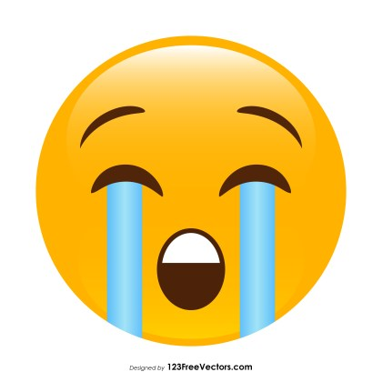 Loudly Crying Face Emoji Vector Free