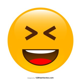 Grinning Squinting Face Emoji Vector Free