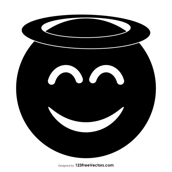 Black Smiling Face with Halo Emoji Icons Vector