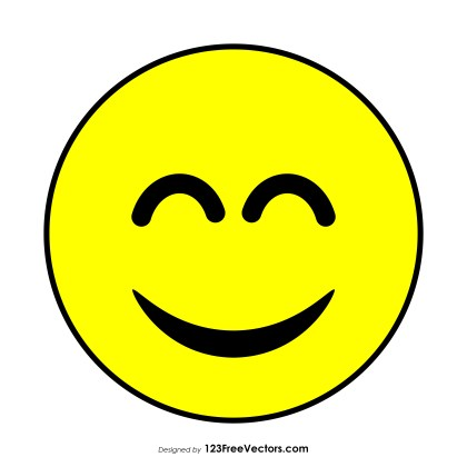 Smiling Face with Open Mouth and Smiling Eyes Emoji Icons Vector