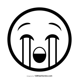Loudly Crying Face Emoji Outline Vector