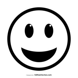 Grinning Face with Big Eyes Emoji Outline