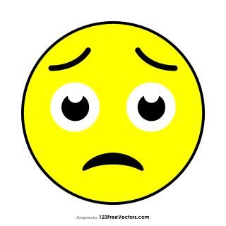 Worried Face Emoji Vector