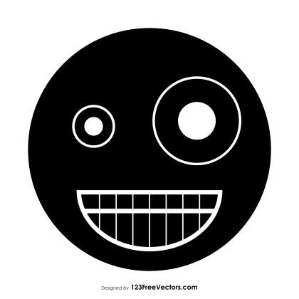 Black Zany Face Emoji