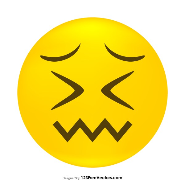Confounded Face Emoji Clipart