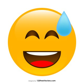 Grinning Face with Sweat Emoji Vector Download