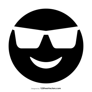 Black Smiling Face with Sunglasses Emoji