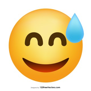 Grinning Face with Sweat Emoji Icons Vector