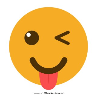 Winking Face with Tongue Emoji Icons Vector