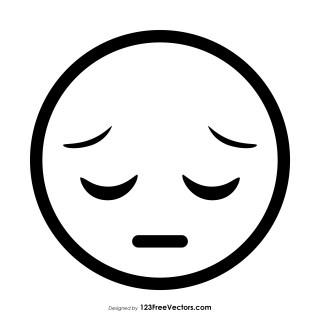 Pensive Face Emoji Outline