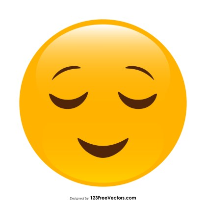 Relieved Face Emoji Vector Download