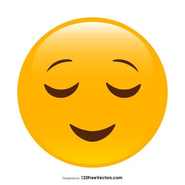 Relieved Face Emoji Vector Download