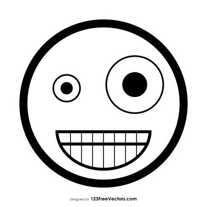 Zany Face Emoji Outline Clipart