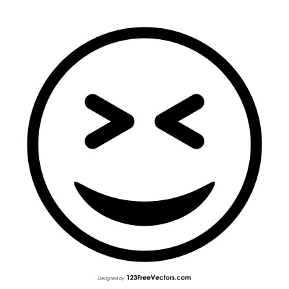 Grinning Squinting Face Emoji Outline