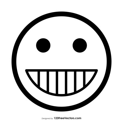 Grinning Face with Smiling Eyes Emoji Outline Vector Download