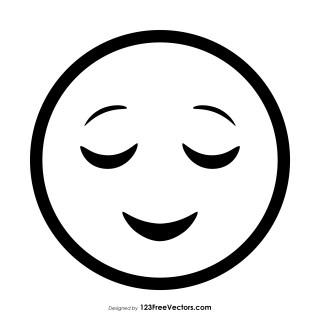 Relieved Face Emoji Outline