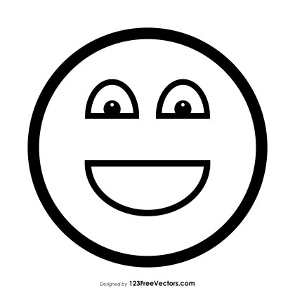 Happy Face Emoji Outline