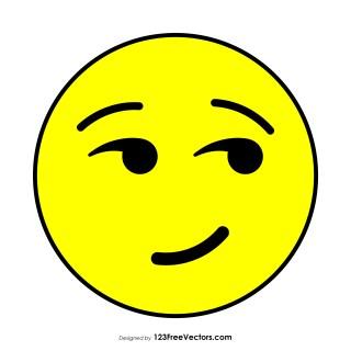 Flat Smirking Face Emoji