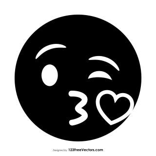 Black Face Blowing a Kiss Emoji