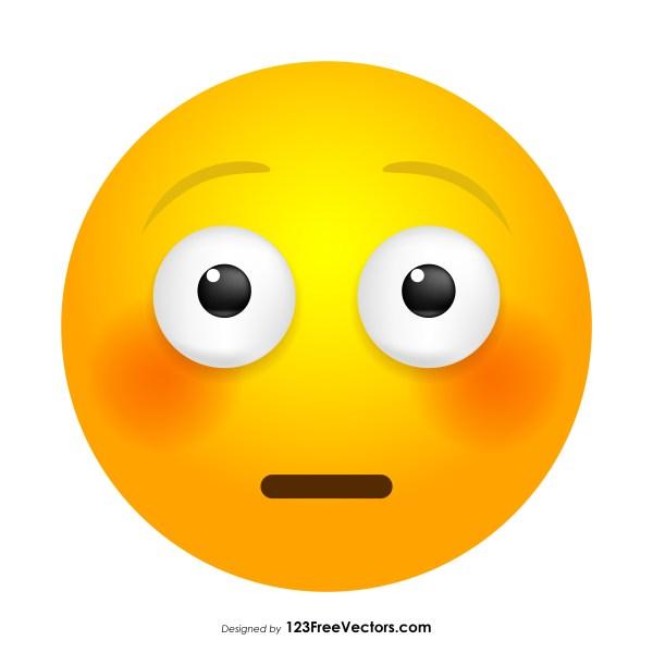 Flushed Face Emoji Icons Vector