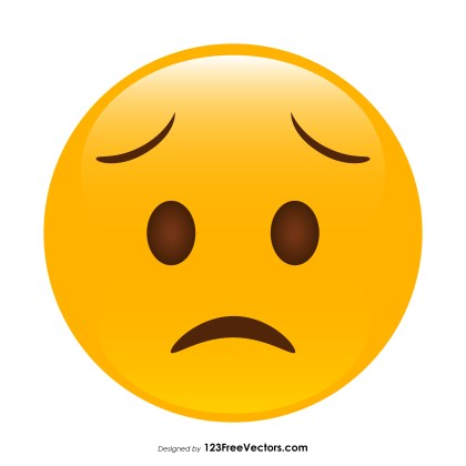 Worried Face Emoji Icons Vector
