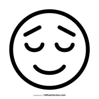 Relieved Face Emoji Outline Vector Free