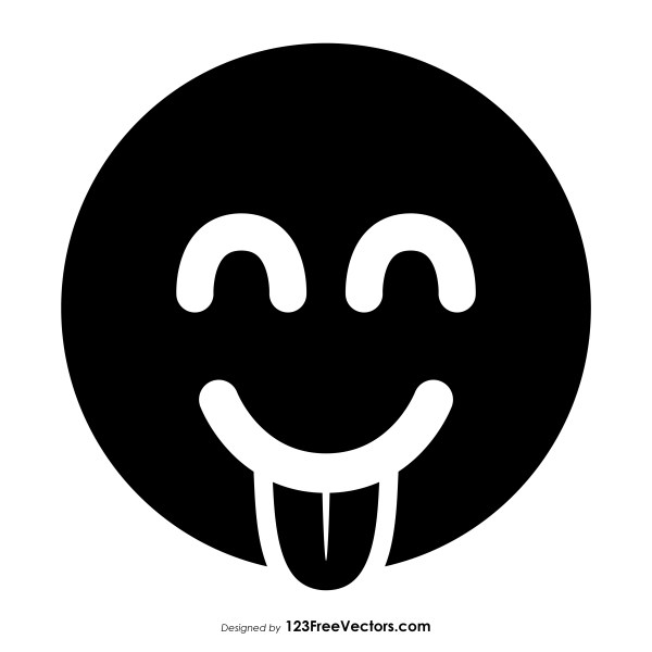 Black Face with Tongue Emoji Vector Free